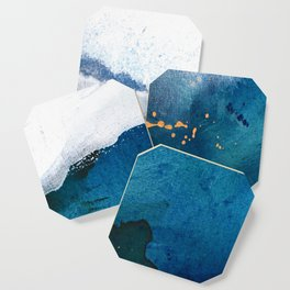 In the Surf: a vibrant minimal abstract painting in blues and gold Coaster