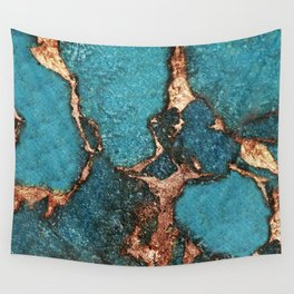 GEMSTONE  & GOLD AQUA Wall Tapestry