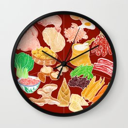 Illustration of a collection of Chinese ingredients Wall Clock