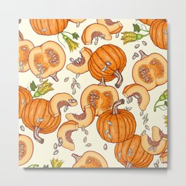 lucky autumn pumpkin pattern Metal Print