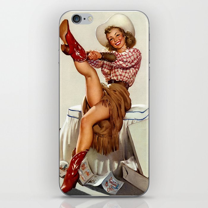 Pin Up Girl Cowgirl Trying on Cowboy Boots iPhone Skin