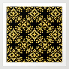 Primrose Yellow Vintage Brocade Damask Art Print