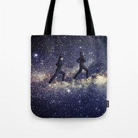 running Tote Bags featuring Running by Cs025
