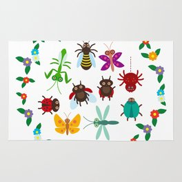 Funny insects Spider butterfly caterpillar dragonfly mantis beetle wasp ladybugs Rug