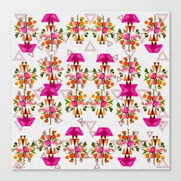 Watercolor Floral & Triangle Pattern Home Goods Design Canvas Print