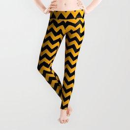 Pale Pumpkin Orange and Black Halloween Chevron Stripes Leggings