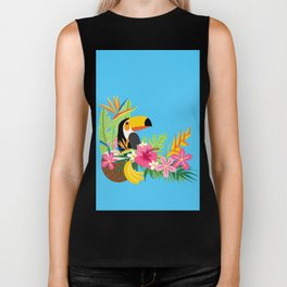 Tropical Toucan Island Coconut Flowers Fruit Blue Background Biker Tank