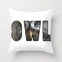font Throw Pillows featuring Font Owl by Jinzha Bloodrose