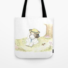 """Arale The Japanese chin """"Reading Books"""" Tote Bag"""