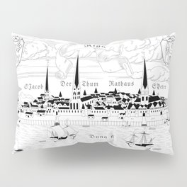 Riga 1544 (black on white) Pillow Sham