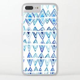 Tie Dye Indigo blue, surface texture, greek pattern, diamonds, watercolor Clear iPhone Case