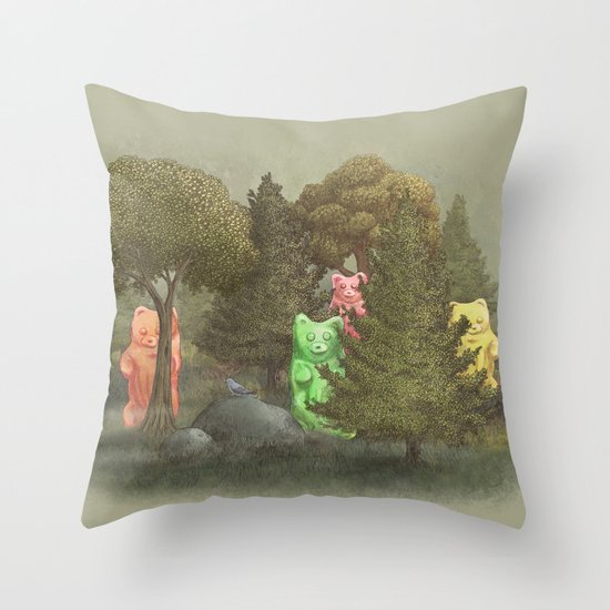 Wild Gummy Bears Throw Pillow