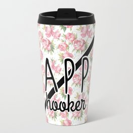 funny crochet vintage floral happy hooker Travel Mug