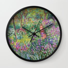 The Iris Garden at Giverny by Claude Monet Wall Clock