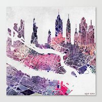 new york skyline Canvas Prints featuring New York Skyline + Map by Map Map Maps