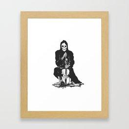 Violinist skull - grim reaper - cartoon skeleton - halloween illustration Framed Art Print