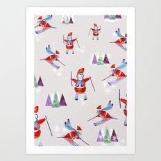 Snow Penguins Art Print