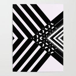 Modern Minimal Black White V Patten Poster