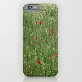 Poppy Field And Springtime Hay Meadow  iPhone Case