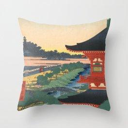 Red Pagoda over River Vintage Ukiyo-e Woodblock Print Throw Pillow