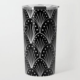 linocut 20s art deco pattern minimal black and white printmaking art Travel Mug