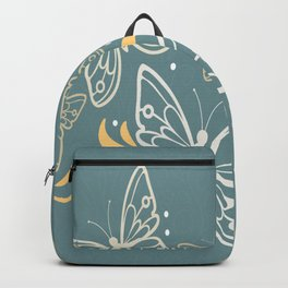 Butterfly White On Blue Background Backpack
