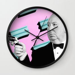 Alfred Hitchcock with a gun Wall Clock