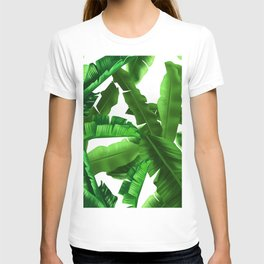 tropical banana leaves pattern T-shirt