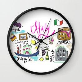 Italy Icons   Italy Travel   Italy Drawing Wall Clock