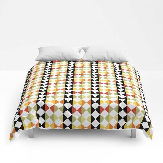 Checker diamond style colorful pattern with black and white Comforters