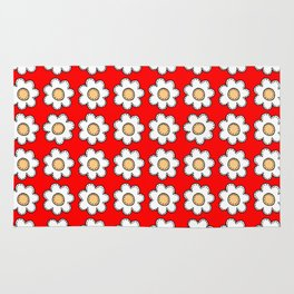 Retro Doodle Mini Flower - Red and White Rug