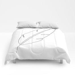 Banana Feather - one line art Comforters