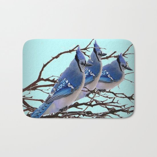 THREE AMERICAN BLUE JAYS ART WINTER ART Bath Mat