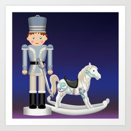 Toy Soldier with Rocking Horse on Christmas Eve Art Print