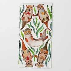 Five Otters – Green Seaweed Beach Towel