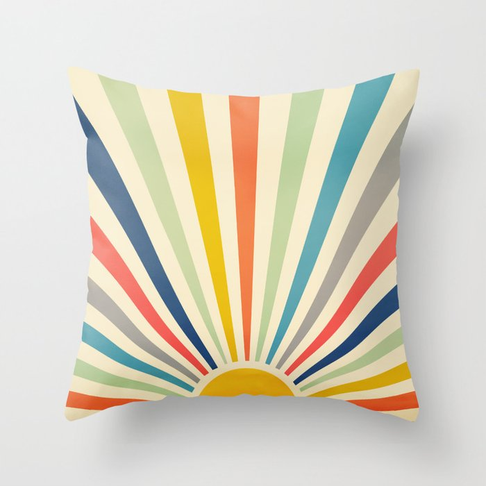 Sun Retro Art III Throw Pillow