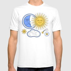 Vintage Sun and Moon Mens Fitted Tee White SMALL