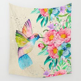 Whimsical watercolor hummingbird and  floral hand paint Wall Tapestry