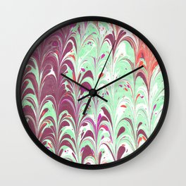 Teal & Purple Marbling Wall Clock