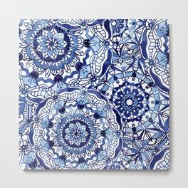 Delft Blue Mandalas Metal Print