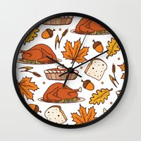thanksgiving Wall Clocks featuring thanksgiving by Ceren Aksu Dikenci