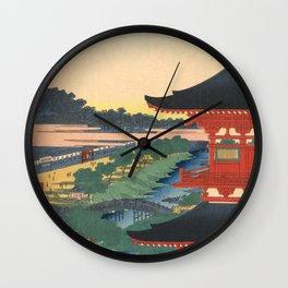 Red Pagoda over River Vintage Ukiyo-e Woodblock Print Wall Clock