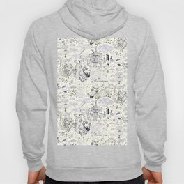 Chinoiserie pattern with dragons, bats, pagodas Hoody