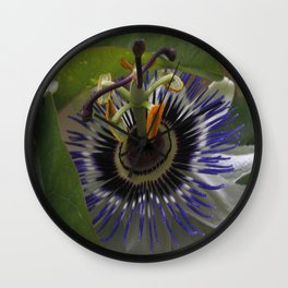 Side View of Beautiful Passiflora Flower Wall Clock