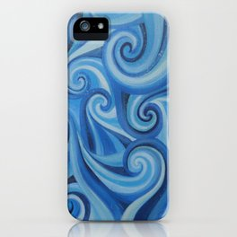 Parting Waves abstract ocean sea swirls painting iPhone Case