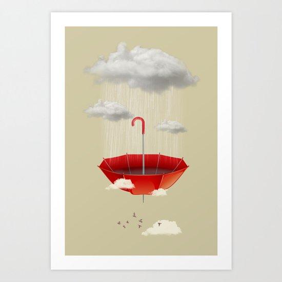 Saving the rain Art Print