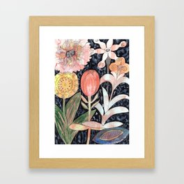 Mixed Flowers with Tulip on Black Framed Art Print