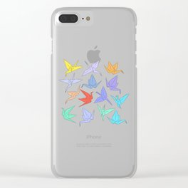 Japanese Origami paper cranes symbol of happiness, luck and longevity Clear iPhone Case
