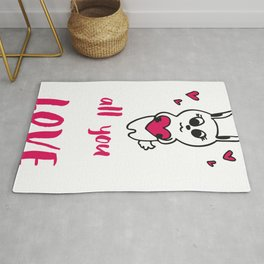 Valentines   All you need is love Rabbit Rug