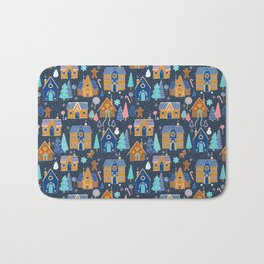 Gingerbread Houses in the snow Bath Mat